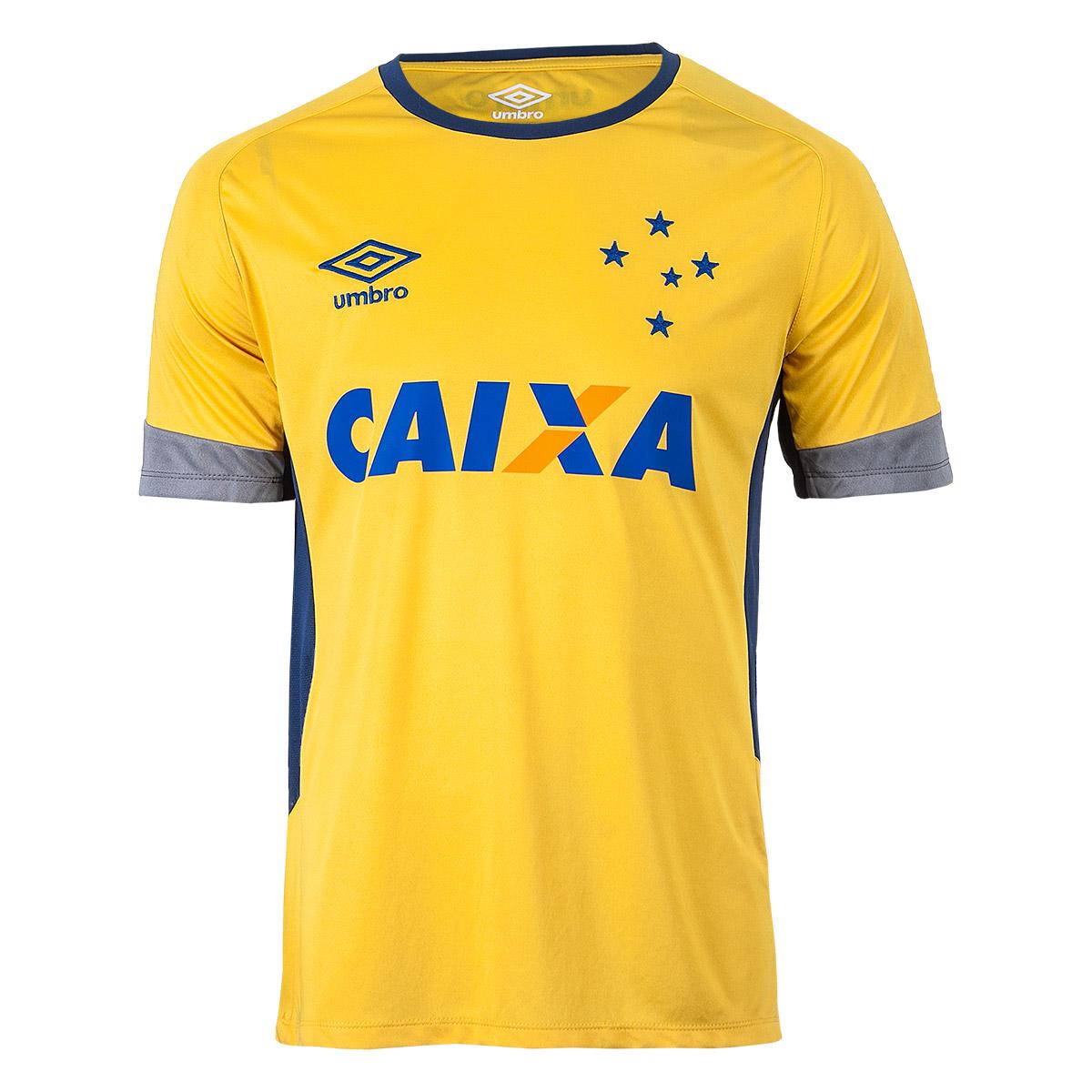Camiseta Masc. Umbro Cruzeiro Treino 2016 - Amarelo/Cinza