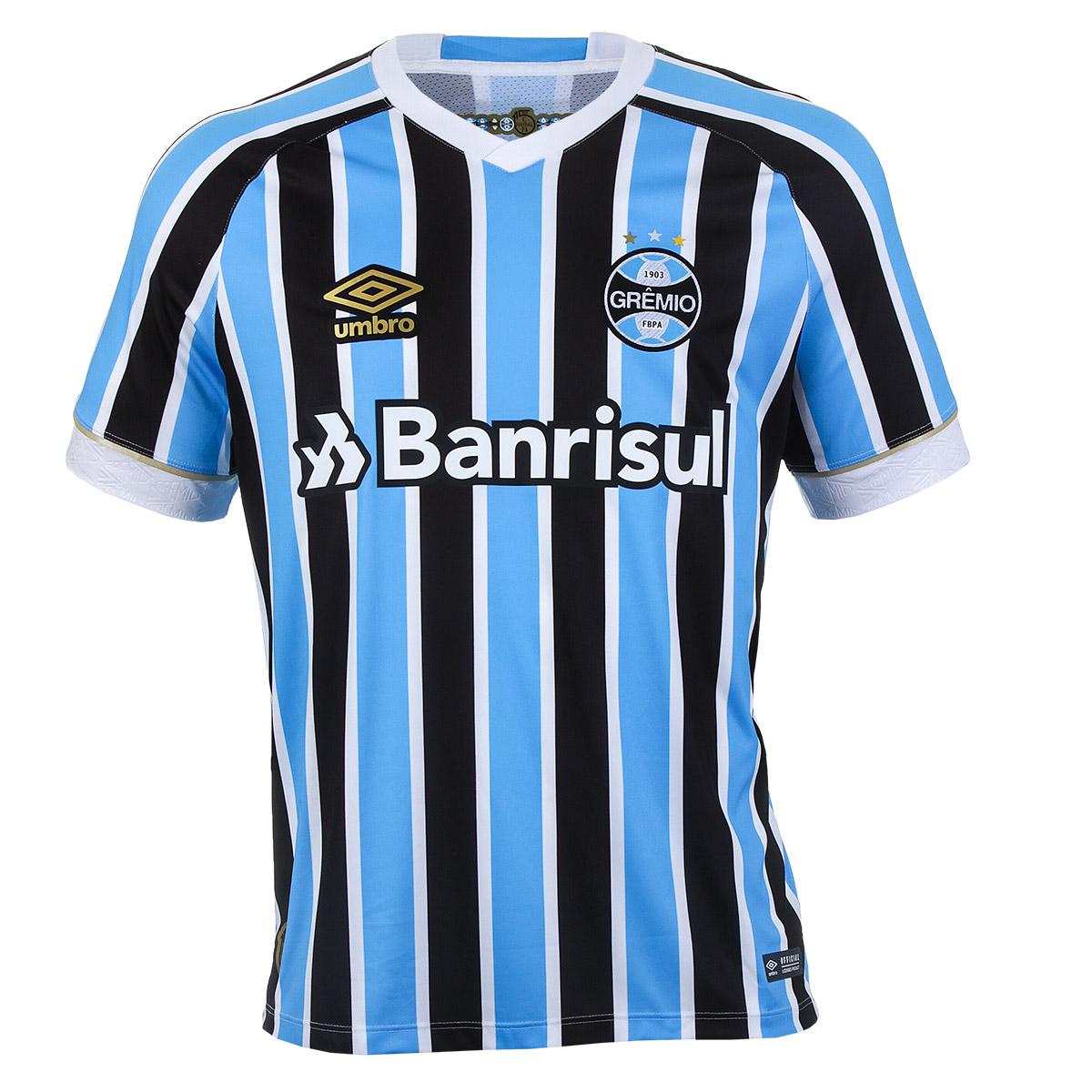 Camiseta Masc. Umbro Gremio Of. 1 2018 Futebol - Azul Celeste/Preto