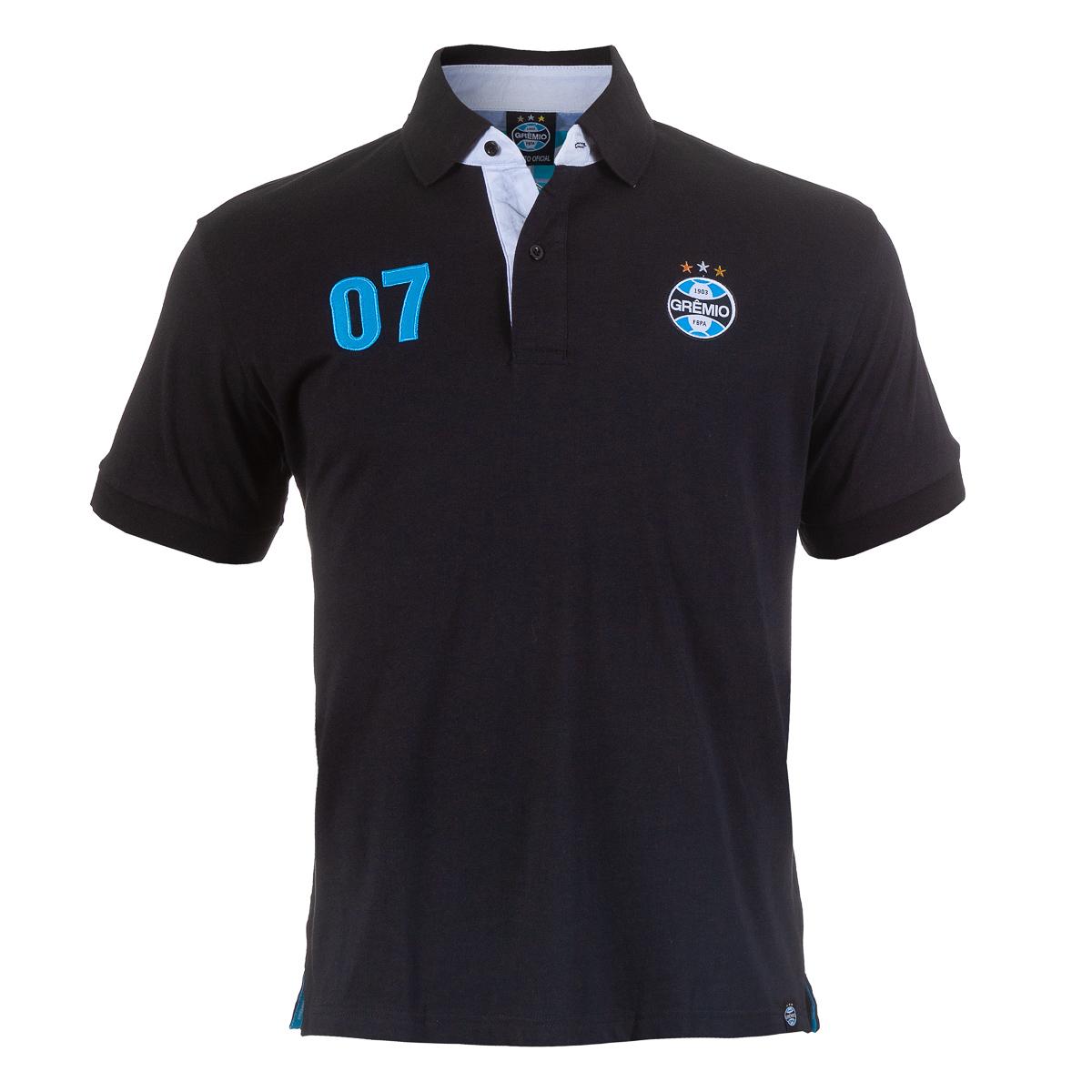 Pólo Masc. Grêmio Casual - Preto/Azul