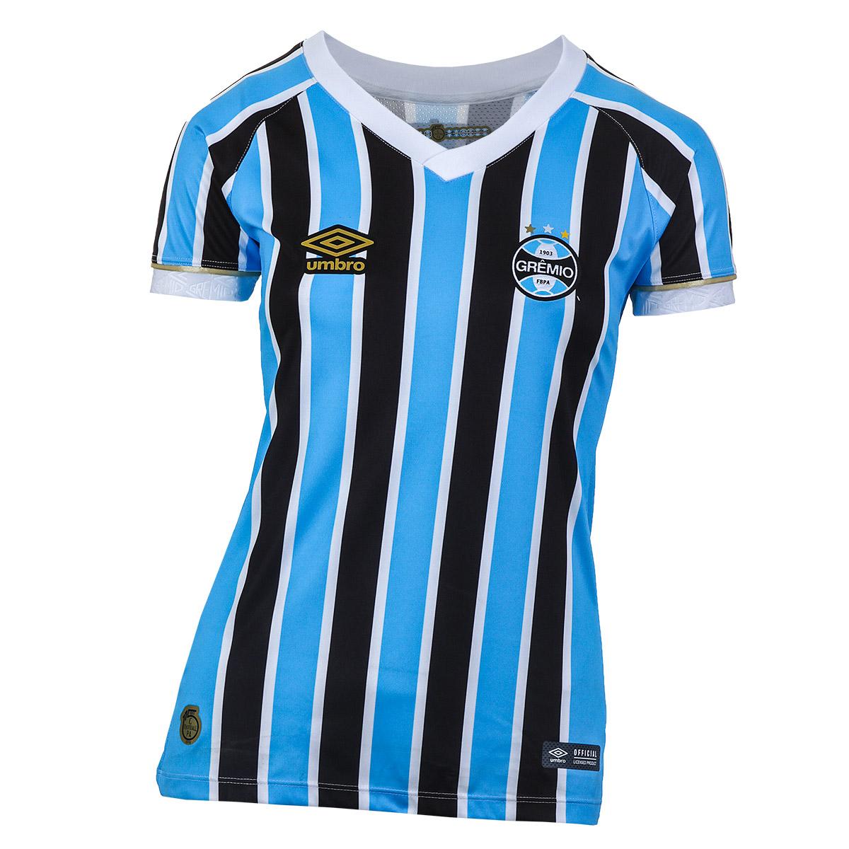 Camiseta Fem. Umbro Gremio Of.1 2018 Futebol - Azul/Preto