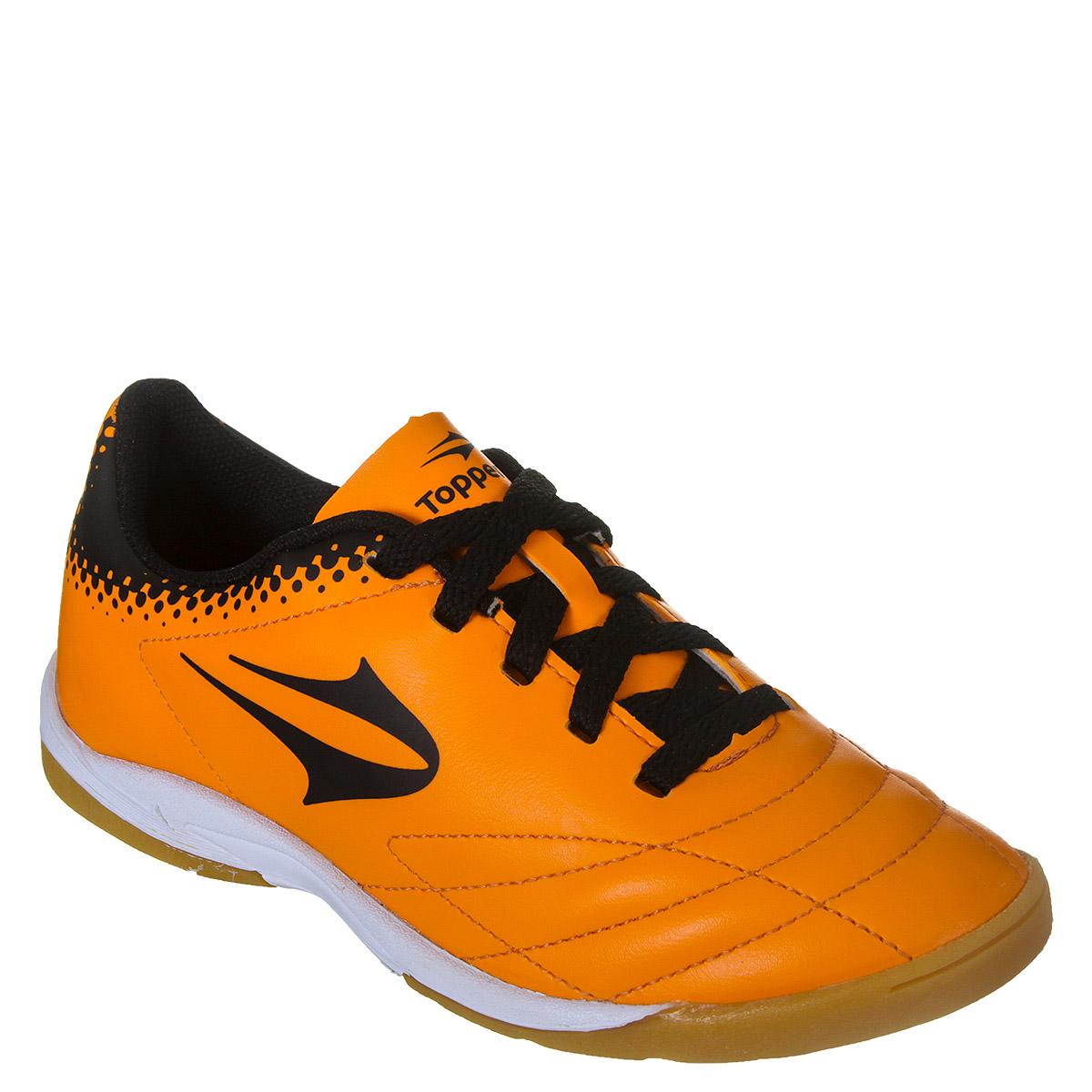 Chuteira Futsal Topper Sprint 3 Infantil - Laranja Preto  d1b61f6f3a501