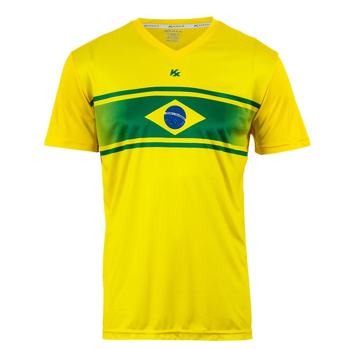 Camiseta Masc. Kanxa Gol Braza Casual - Amarelo/Verde