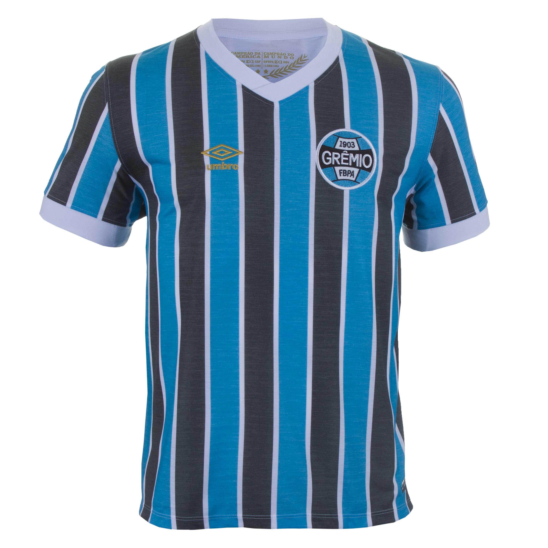 Camiseta Masc. Umbro Gremio Retro 1983 Esporte - Indoor - Azul Celeste/Preto
