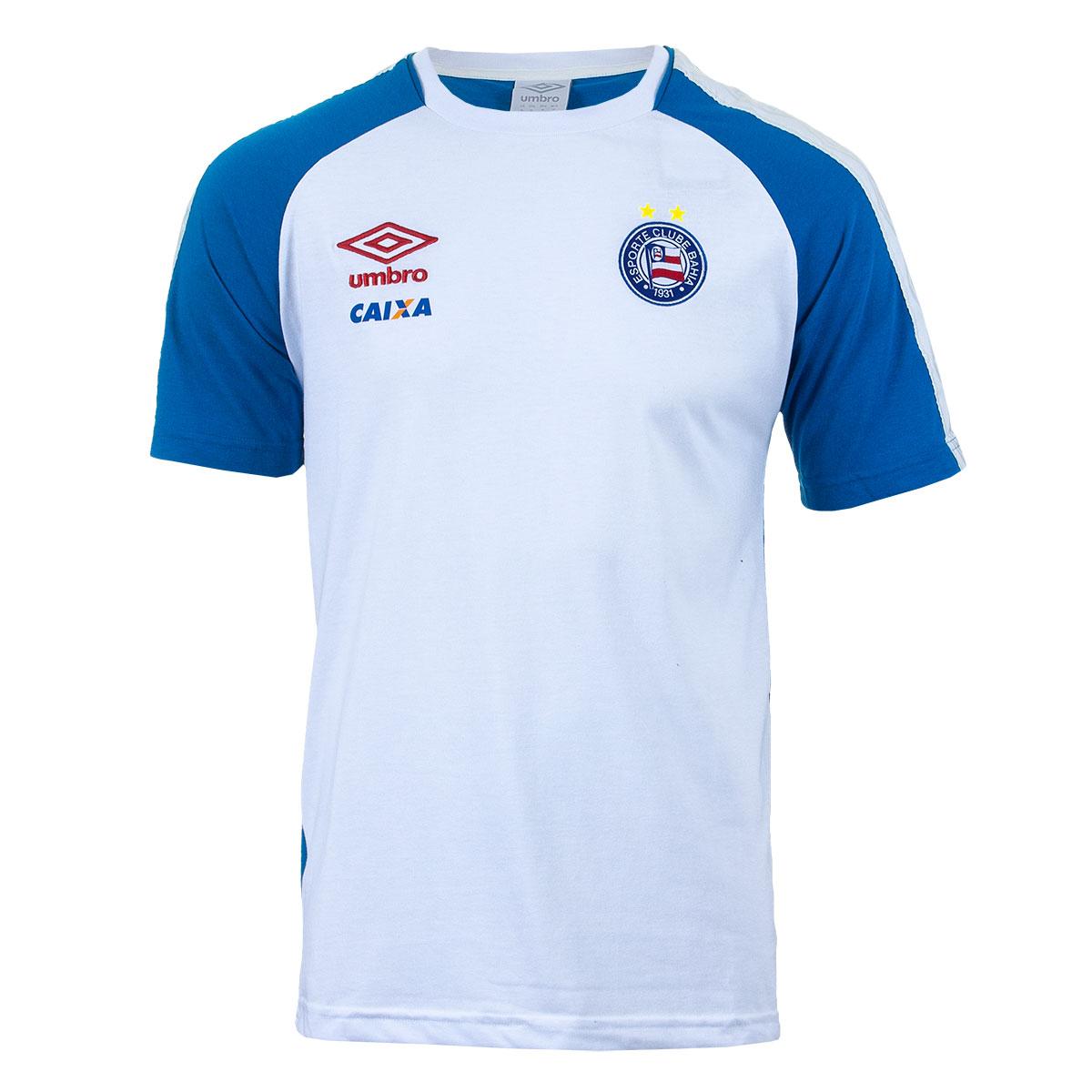 Camiseta Masc. Umbro Bahia Concentracao 2017 Futebol - Branco/Azul