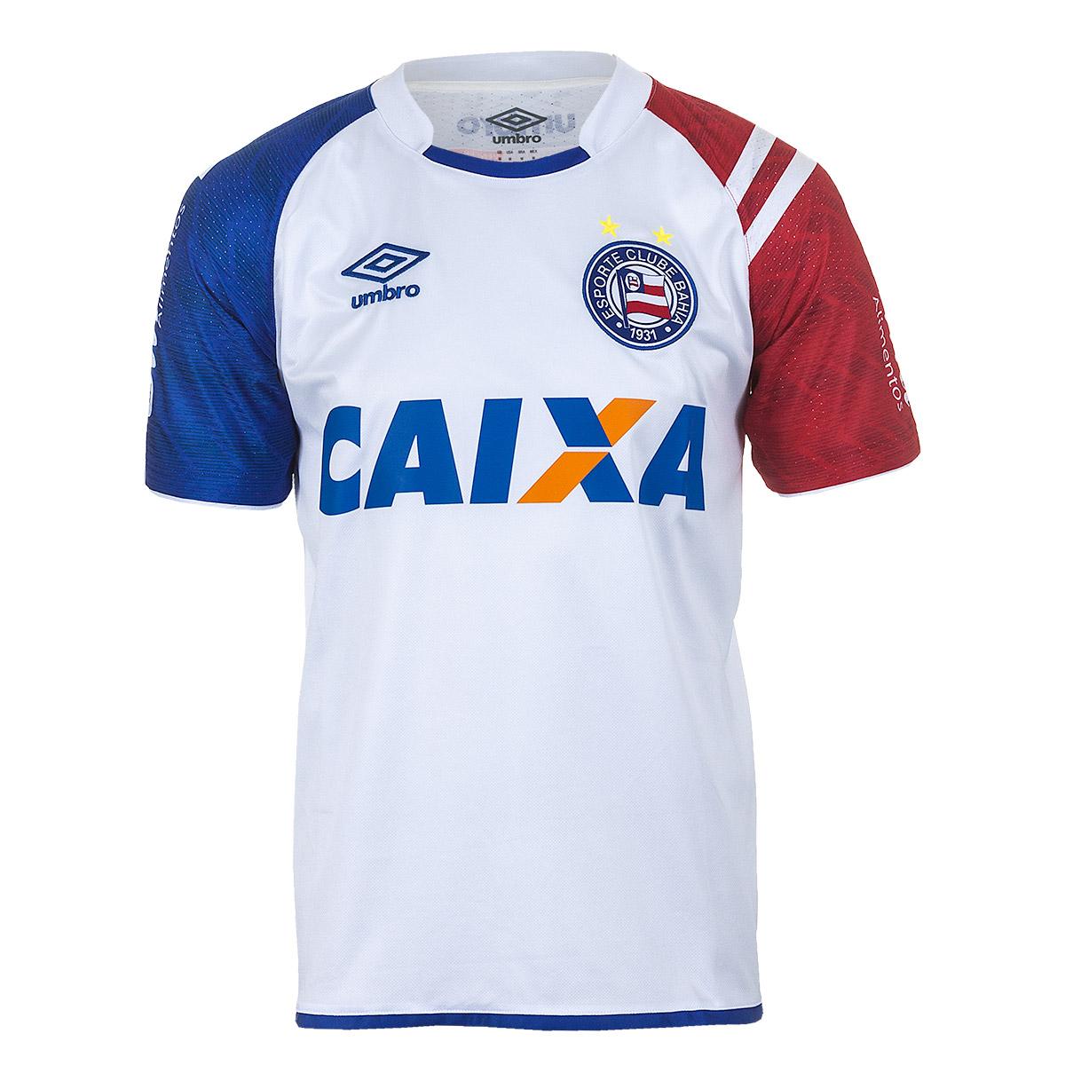 Camisa Masc. Umbro Bahia Of 1 2017 Futebol - Branco/Azul