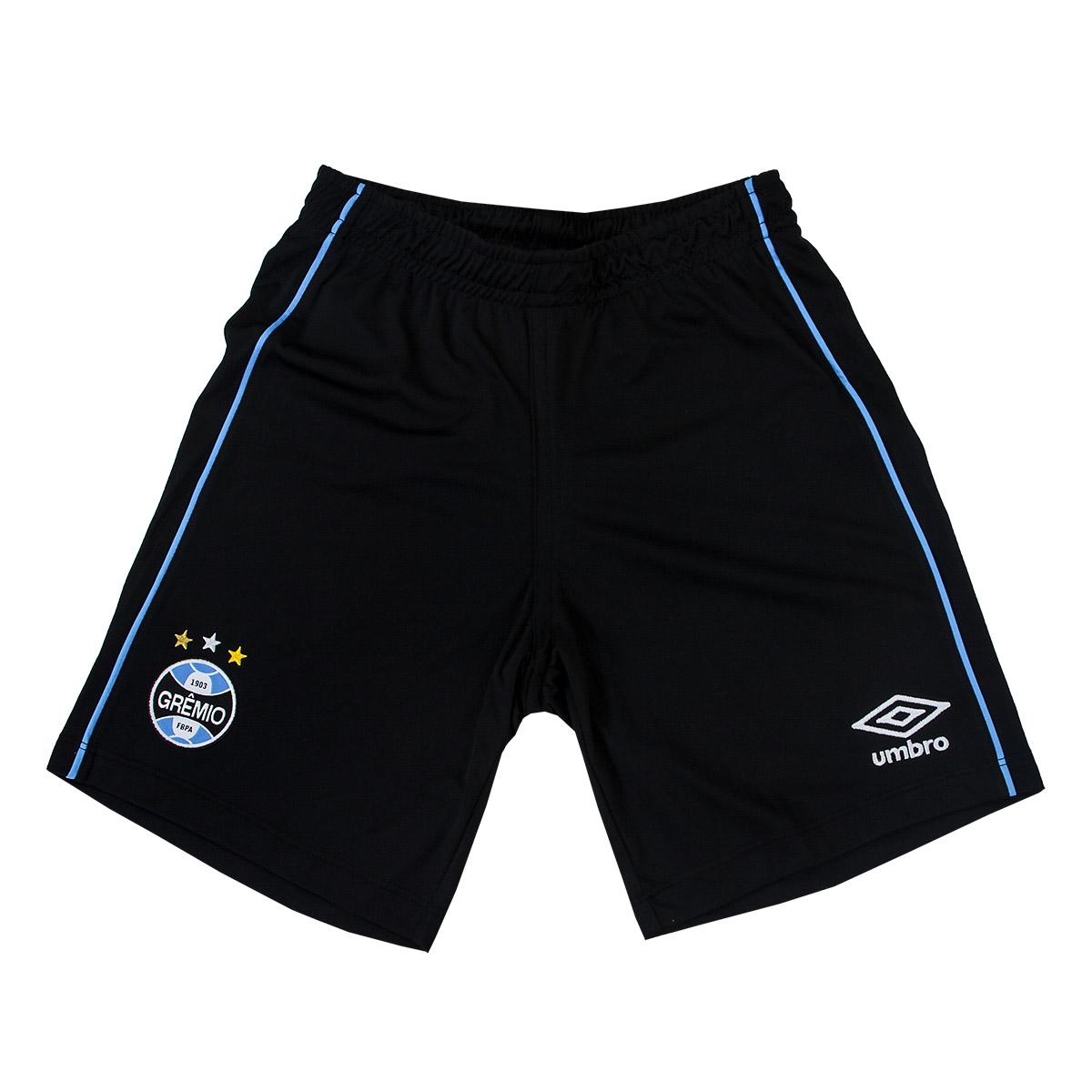 Calção Juvenil Umbro Gremio Of.1 2018 Futebol - Preto/Azul