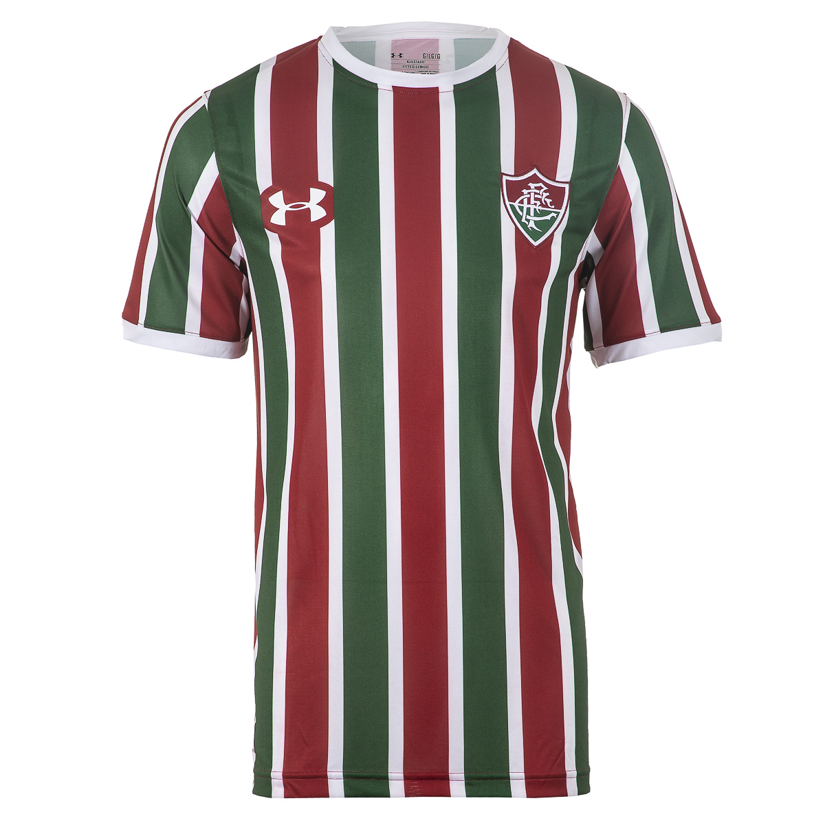 Camisa Masc. Under Armour Fluminense Of.1 Tricolor Futebol - Verde/Bordô