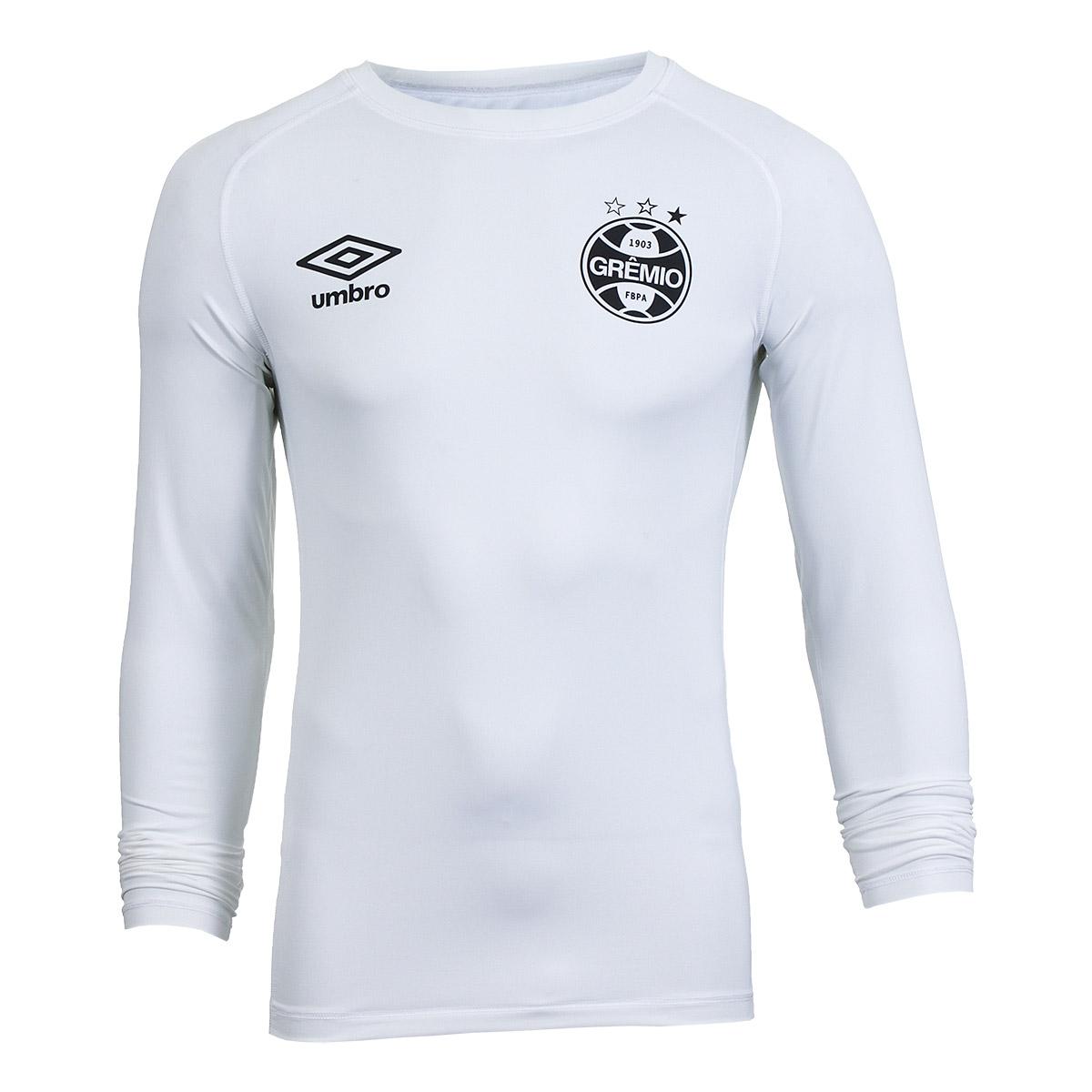 Camiseta Manga Longa Masc. Umbro Termica Gremio 2018 - Branco/Preto