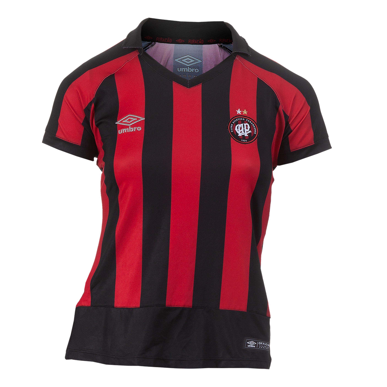 Camisa Fem. Umbro Atletico Paranaense Of. 1 Futebol - Vermelho/Preto