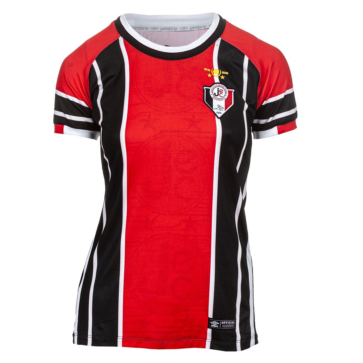 Camisa Fem. Umbro Joinvile Of. 1 Futebol - Vermelho/Branco