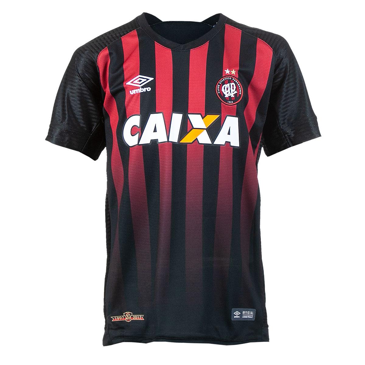 Camisa Juvenil Umbro Atlético Paranaense Futebol - Preto/Vermelho