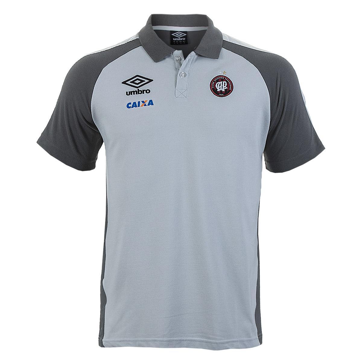 Camisa Polo Masc. Umbro Viagem Atletico Paranaense Esporte - Indoor - Cinza/Prata
