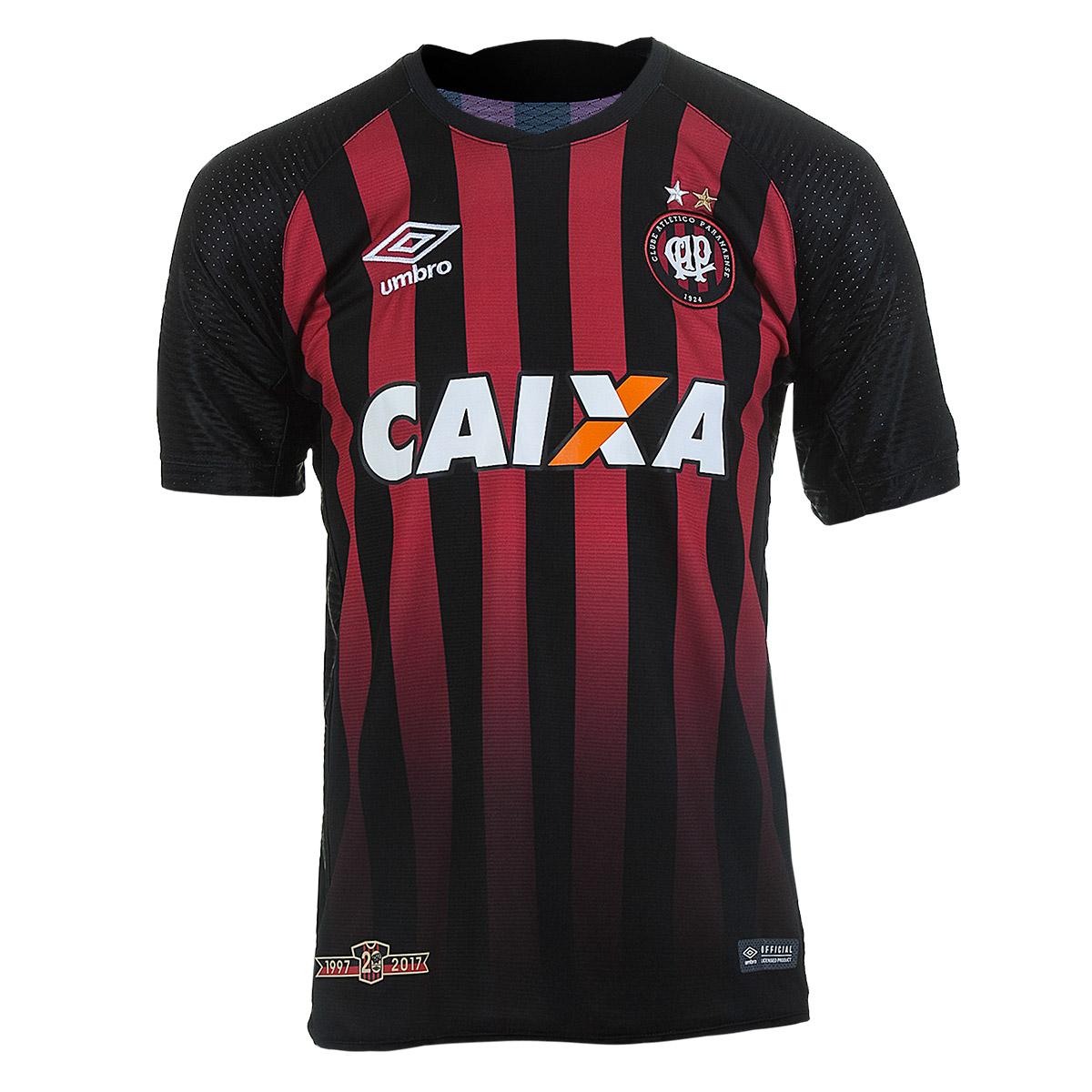 Camiseta Masc. Umbro Atletico Paranaense Of.1 2017 - Preto/Vermelho